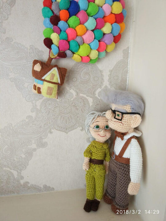 Up High Adventures amigurumi: Russell, Carl and Ellie, how-to, step by step and recipes